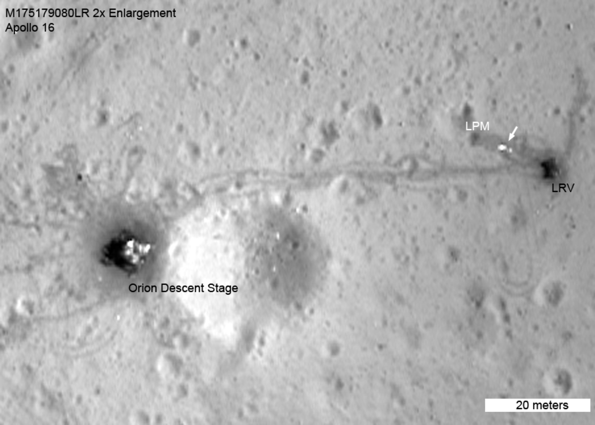 Zoom-in of last photo to show lunar rover (LRV), magnetomer and rover tracks.
