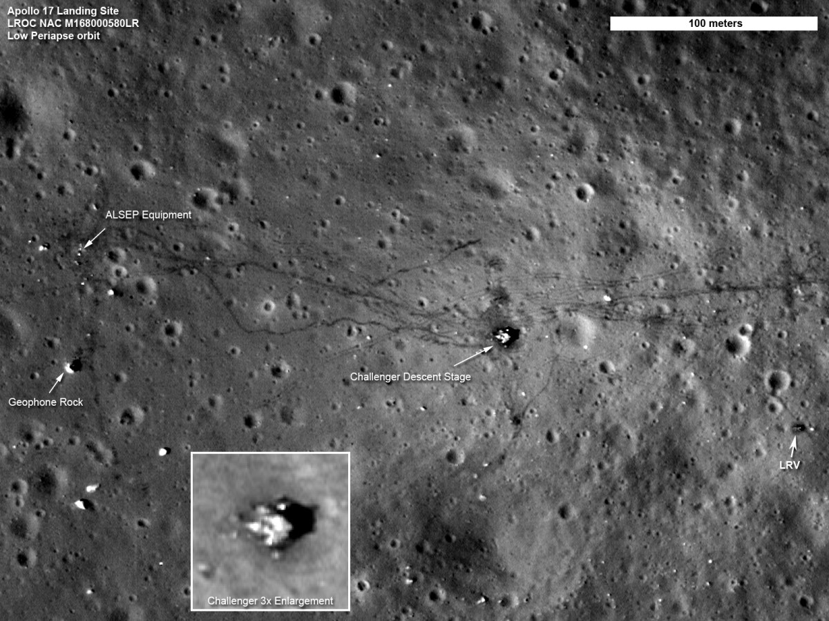 September 2011: Settling into lower orbit, another good view of Apollo 17 landing site.