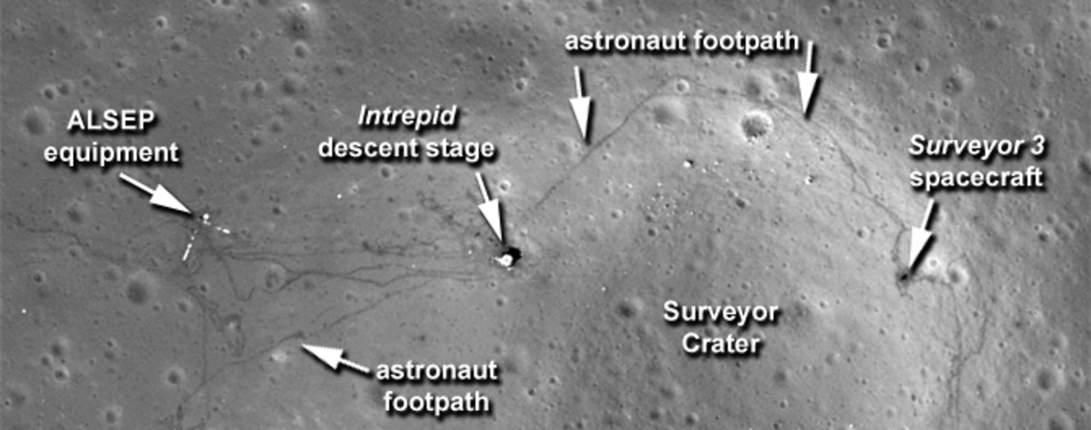 September 2011: Close-up of previous image. Intrepid is the Lunar Lander, Surveyor was a previous unmanned lander.