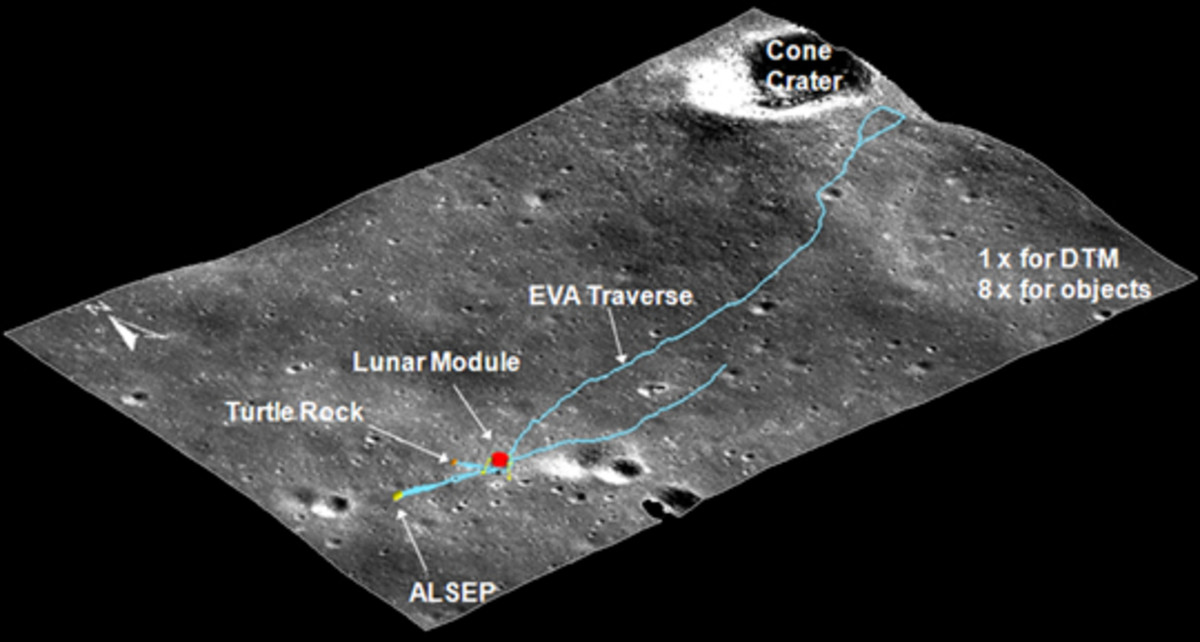 January 2010: multiple (stereoscopic) images from the LRO allowed NASA scientists to reconstruct a 3D view of the Apollo 14 landing site. Click link for more info on this image.