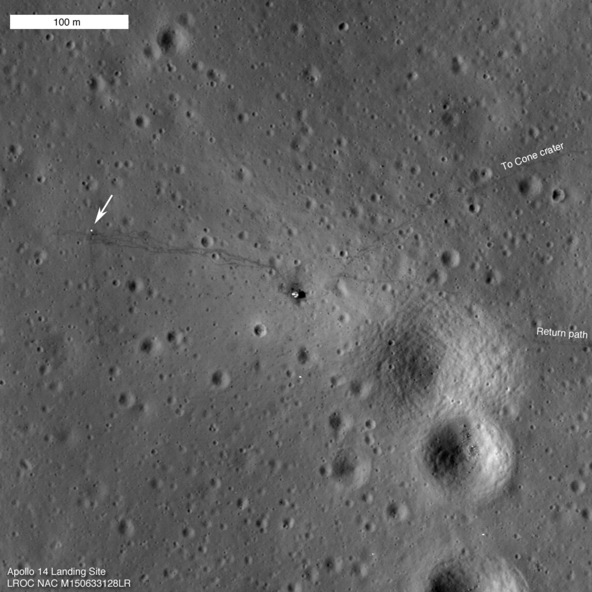 February 2011 views of Antares moon lander (right), instruments left behind (arrow, left), and astronaut tracks. Click link for a sad story: lacking LRO images, the astronauts had to turn back just before reaching a crater they were looking for.