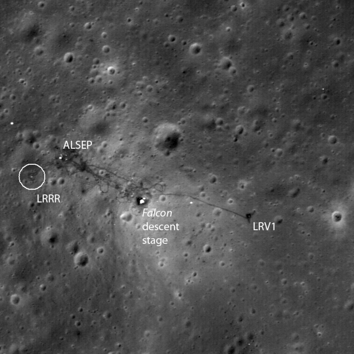 April 2010. Another pass reveals the Lunar Descent Module (i.e. the legs and base), LRV (moon buggy) and LRRR, the Laser Ranging RetroReflector that I explained above.