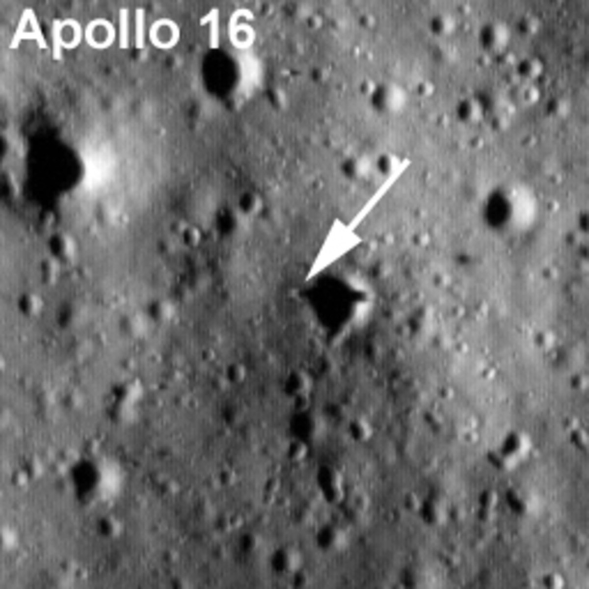Here's how you can spot it. The sun was so low that the descent module's shadow extends right across the crater (I think?)
