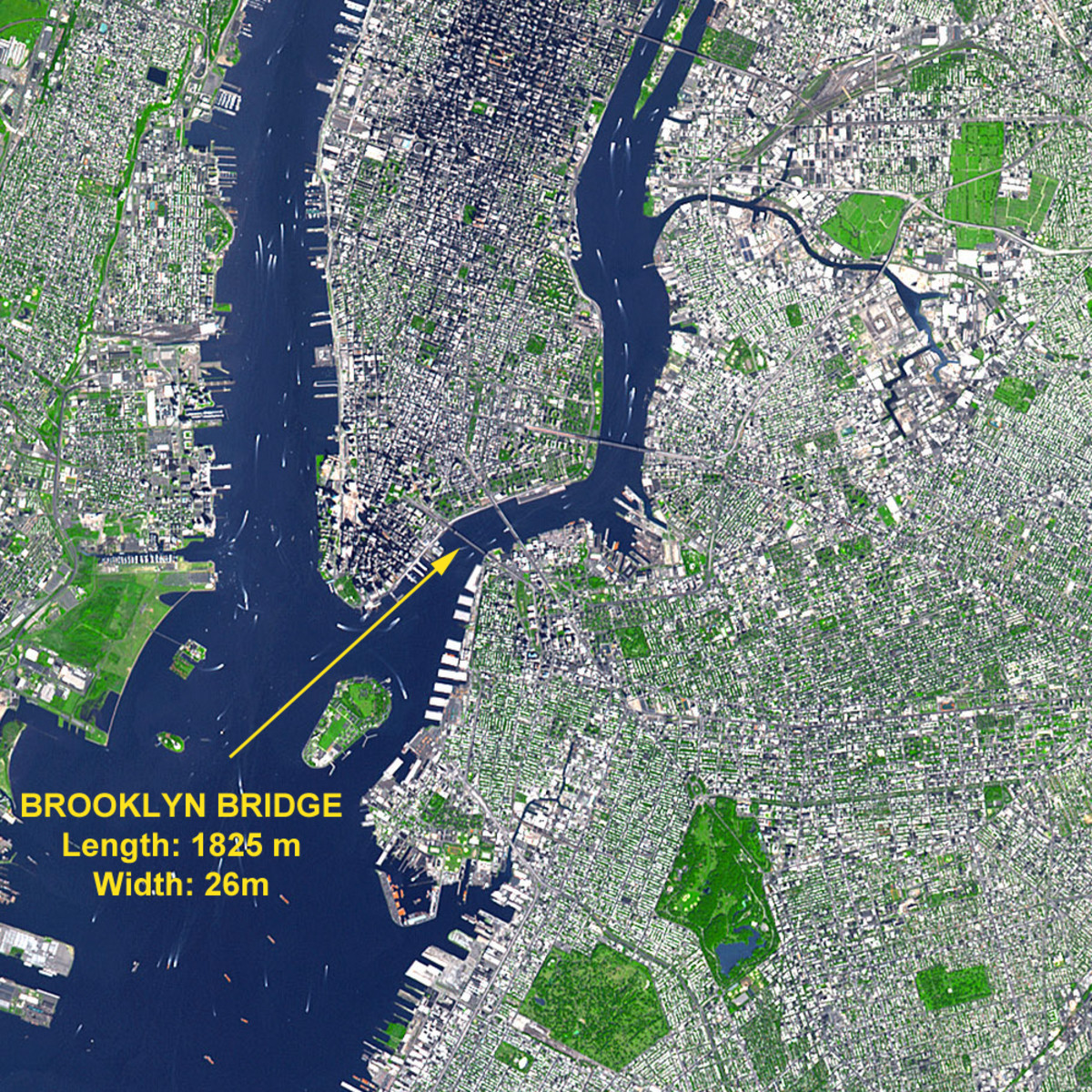 Earth Observatory satellite photo of New York City. (Terra orbits at about 443 miles up.)