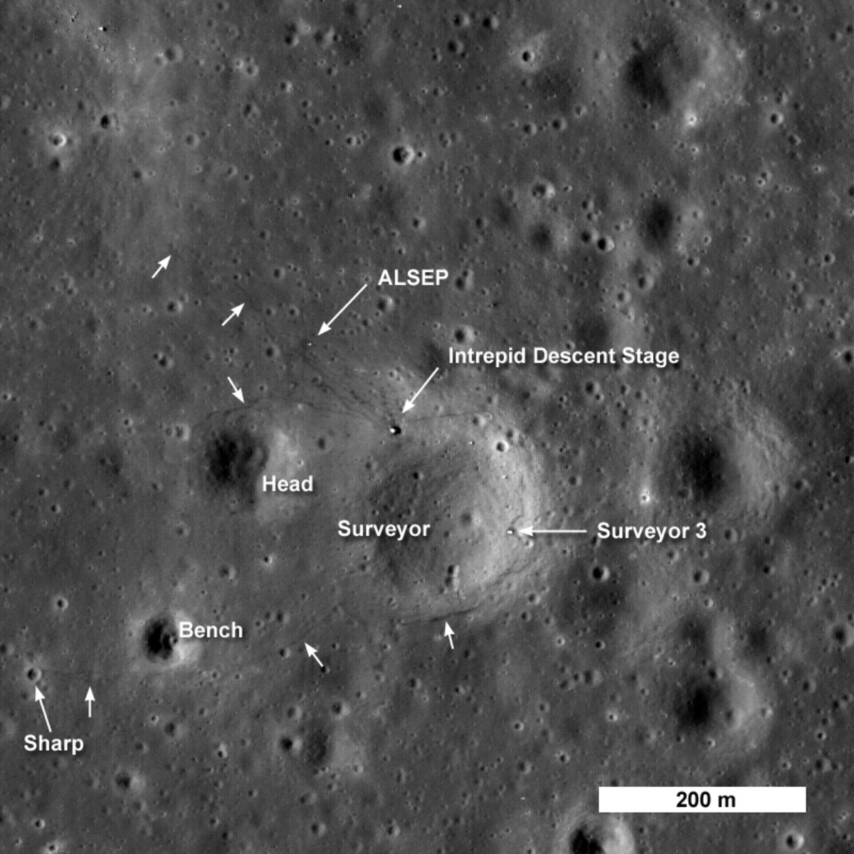 September 2009: LRO's first look at Apollo 12 landing site.