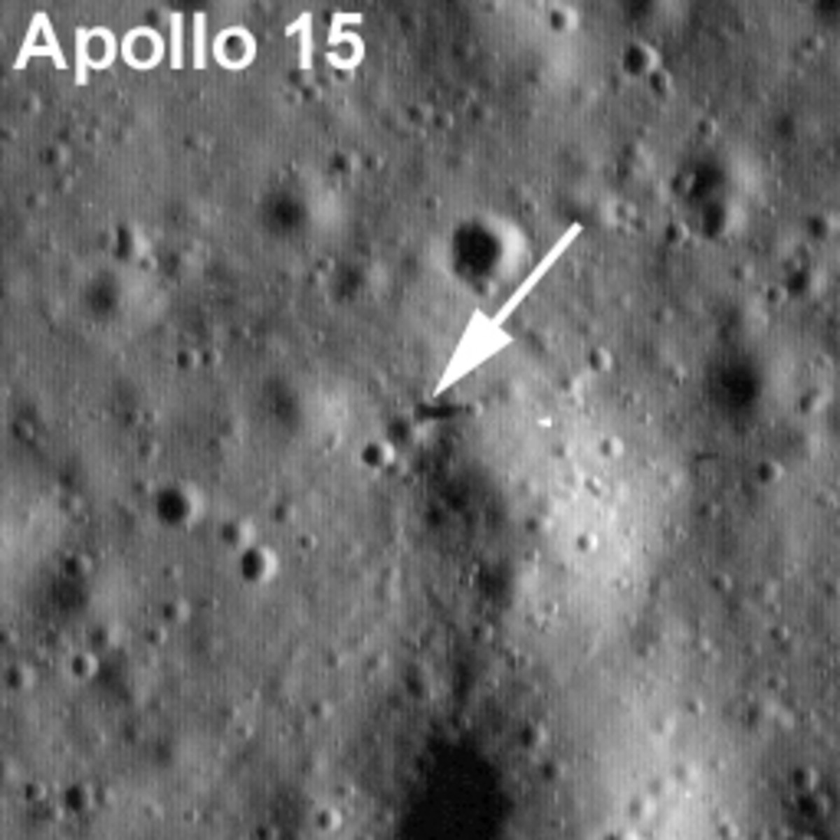 Close-up of previous photo to show the lander. I'm impressed they spotted it, but I guess they knew where to look.
