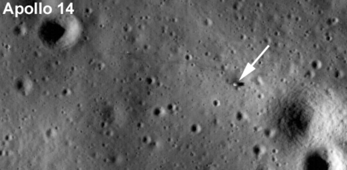 August 2009 LRO image of Apollo 14 lunar lander's legs/platform.