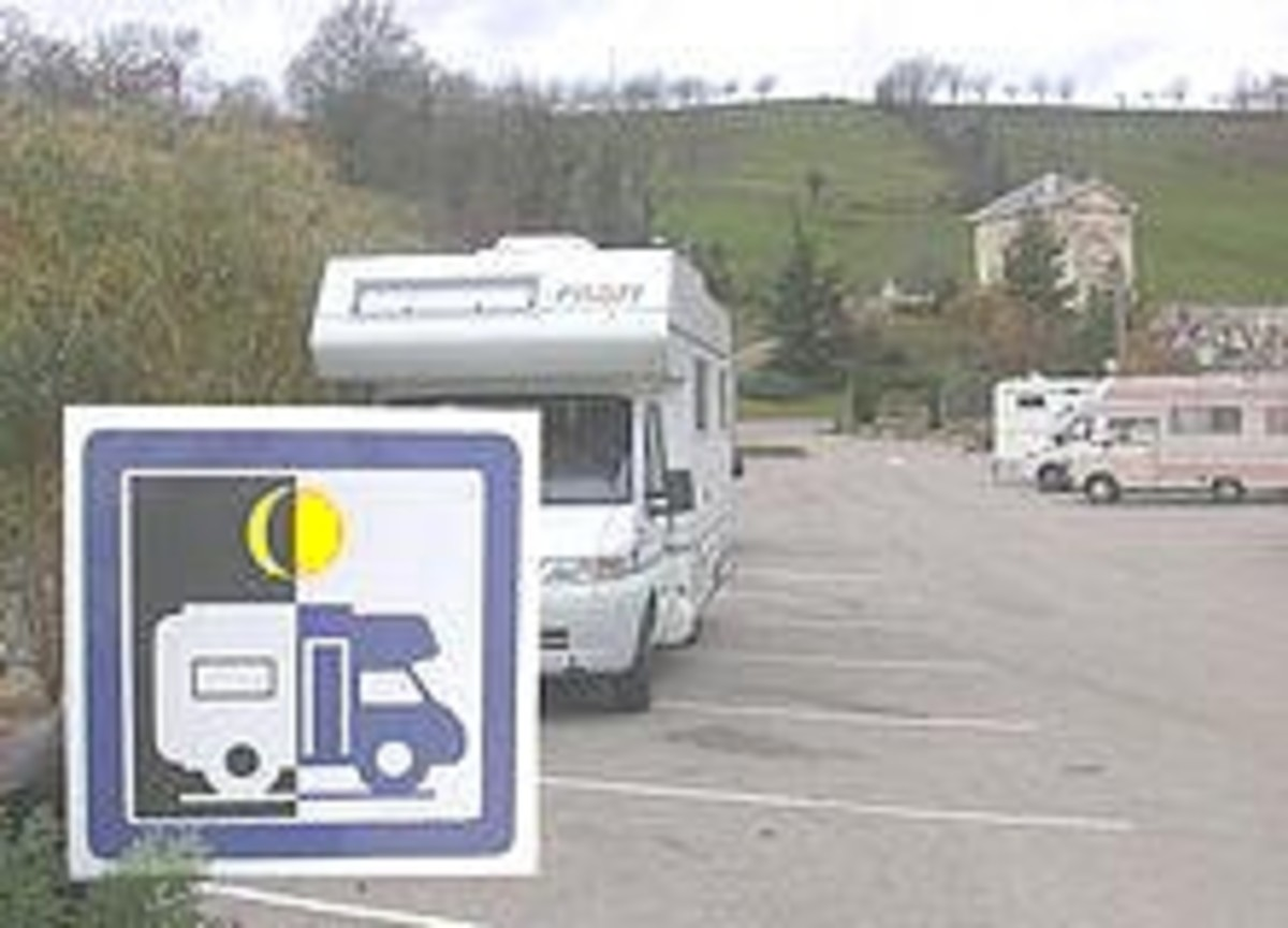 Sign showing parking overnight is allowed