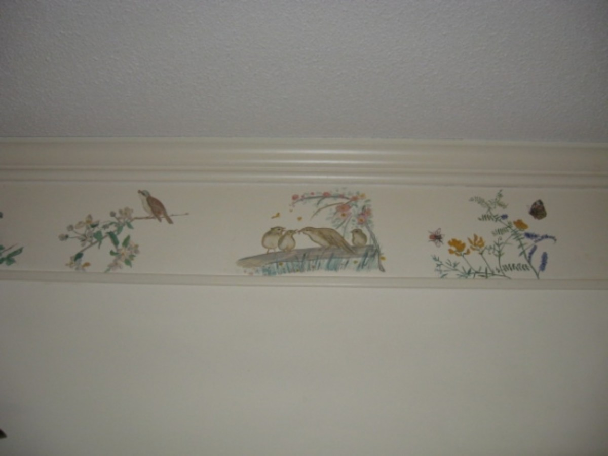 Handpainted border showing Willow Warbler