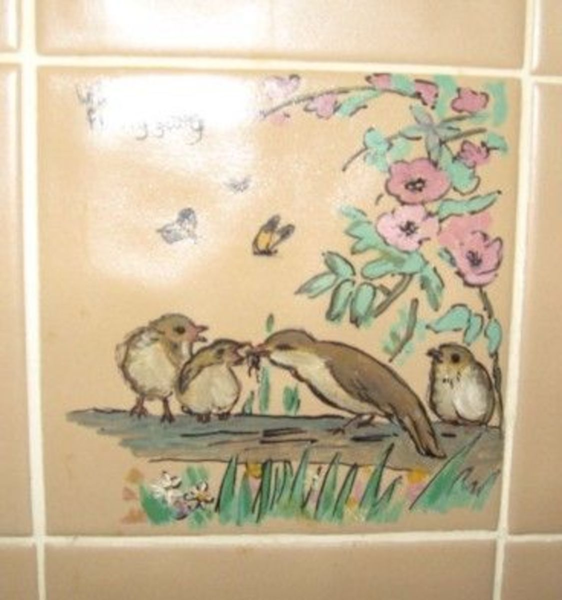 Handpainted Tile of Willow Warbler