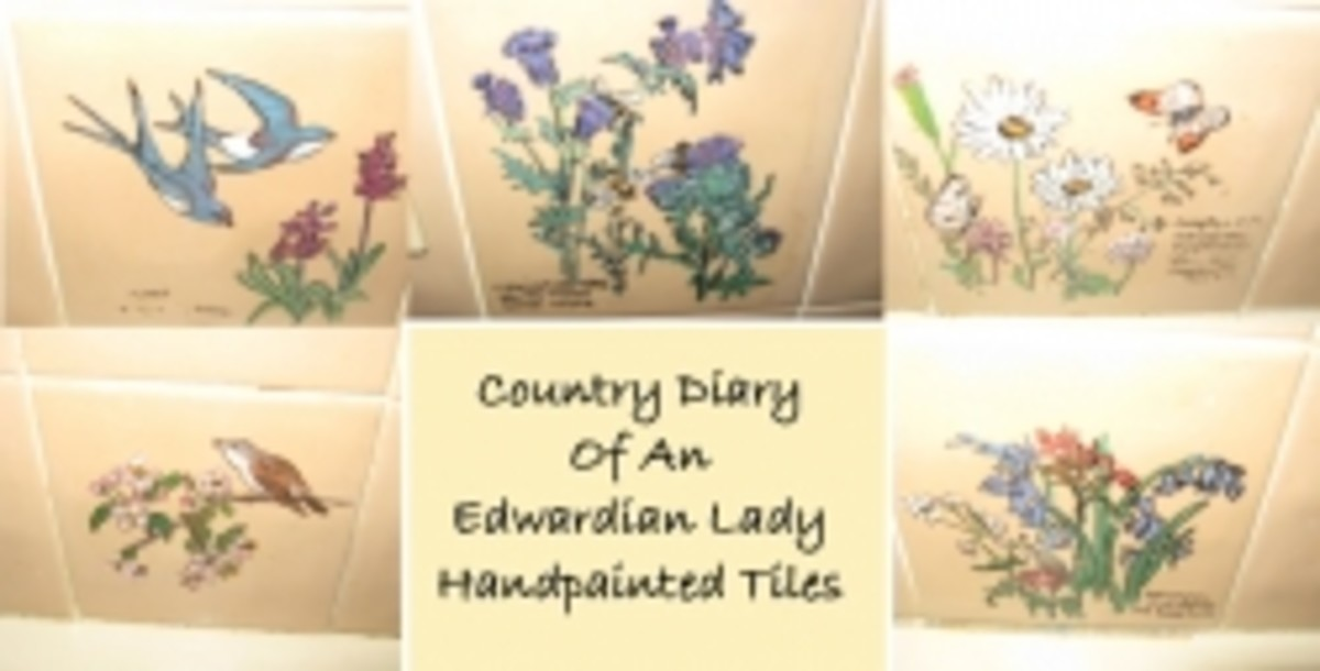 Country Diary of the Edwardian Lady hand painted tiles