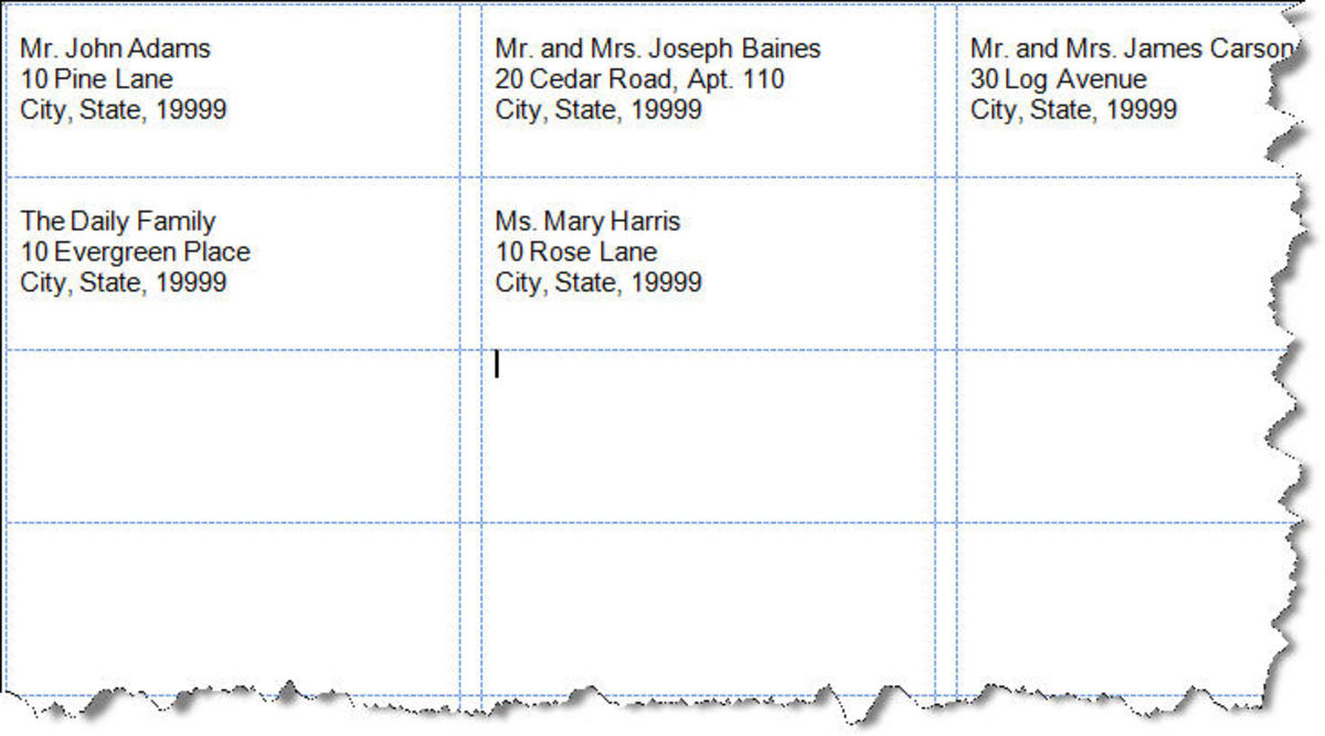Figure 3: Sample Labels—Different Addresses