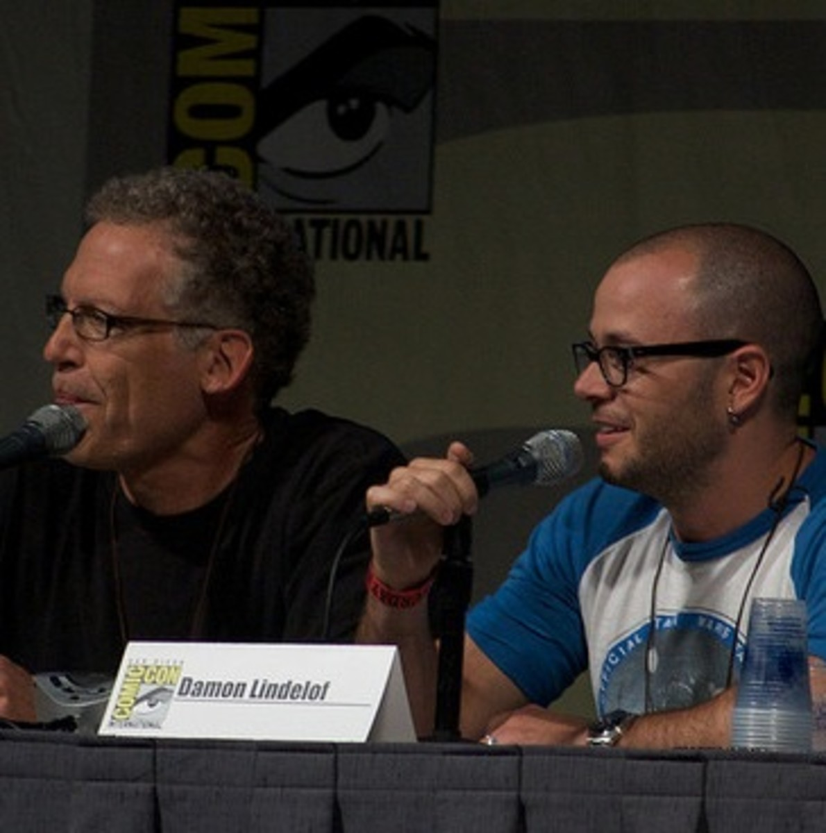 Damon Lindelof and Carlton Cuse at a Lost Comic Con panel.