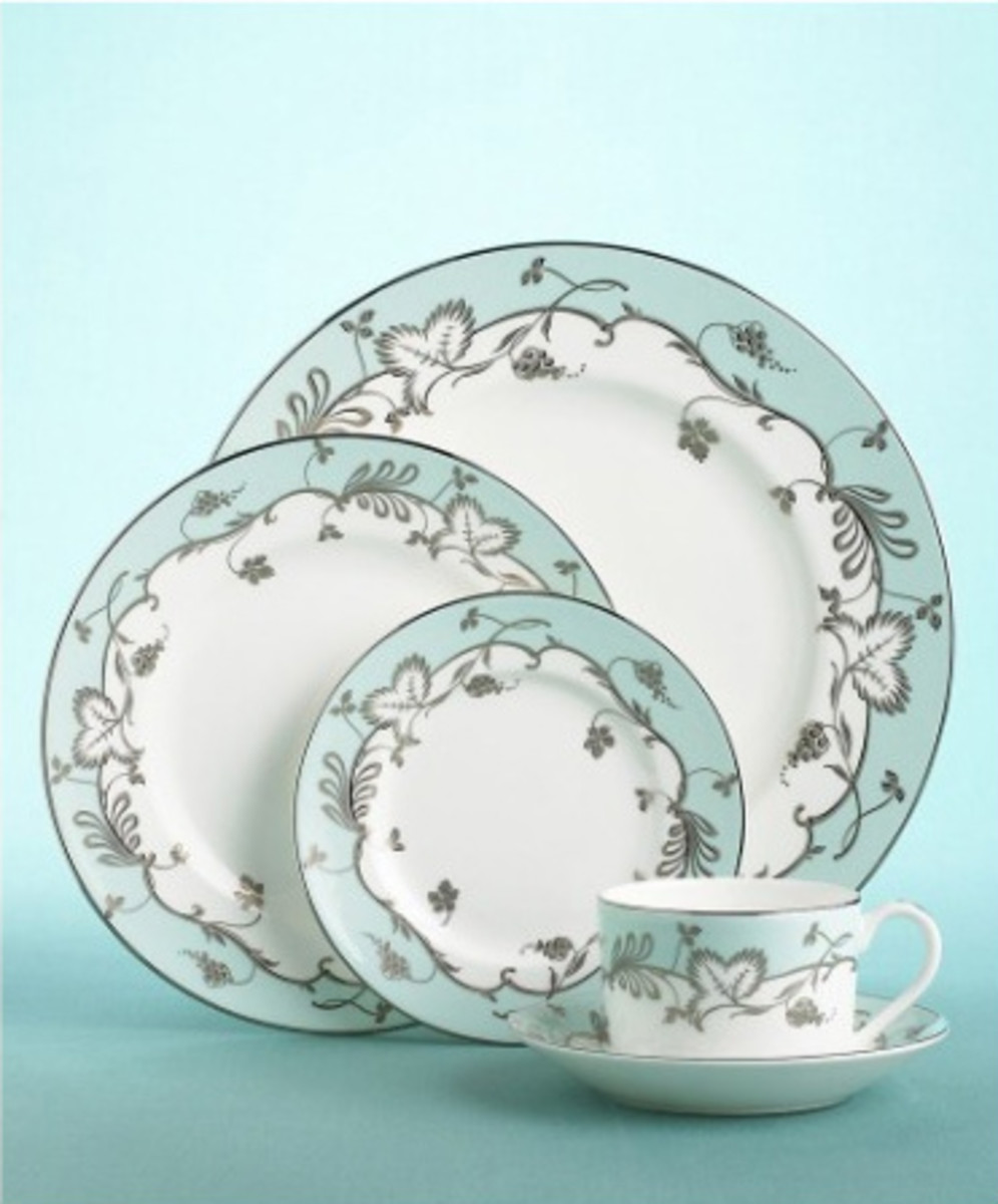 Wedgwood Martha Stewart Flourish Robin's Egg Blue Dishes
