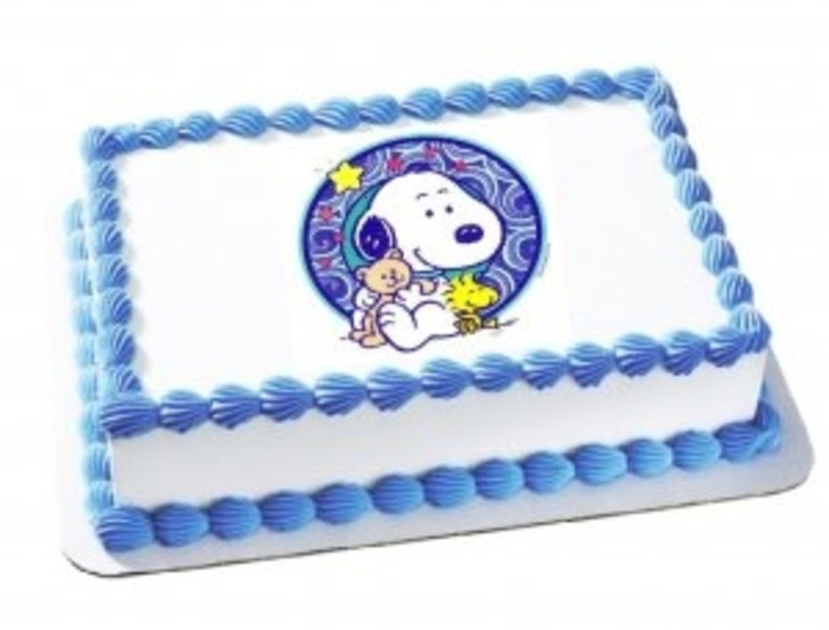 Baby Snoopy Blue & White Cake