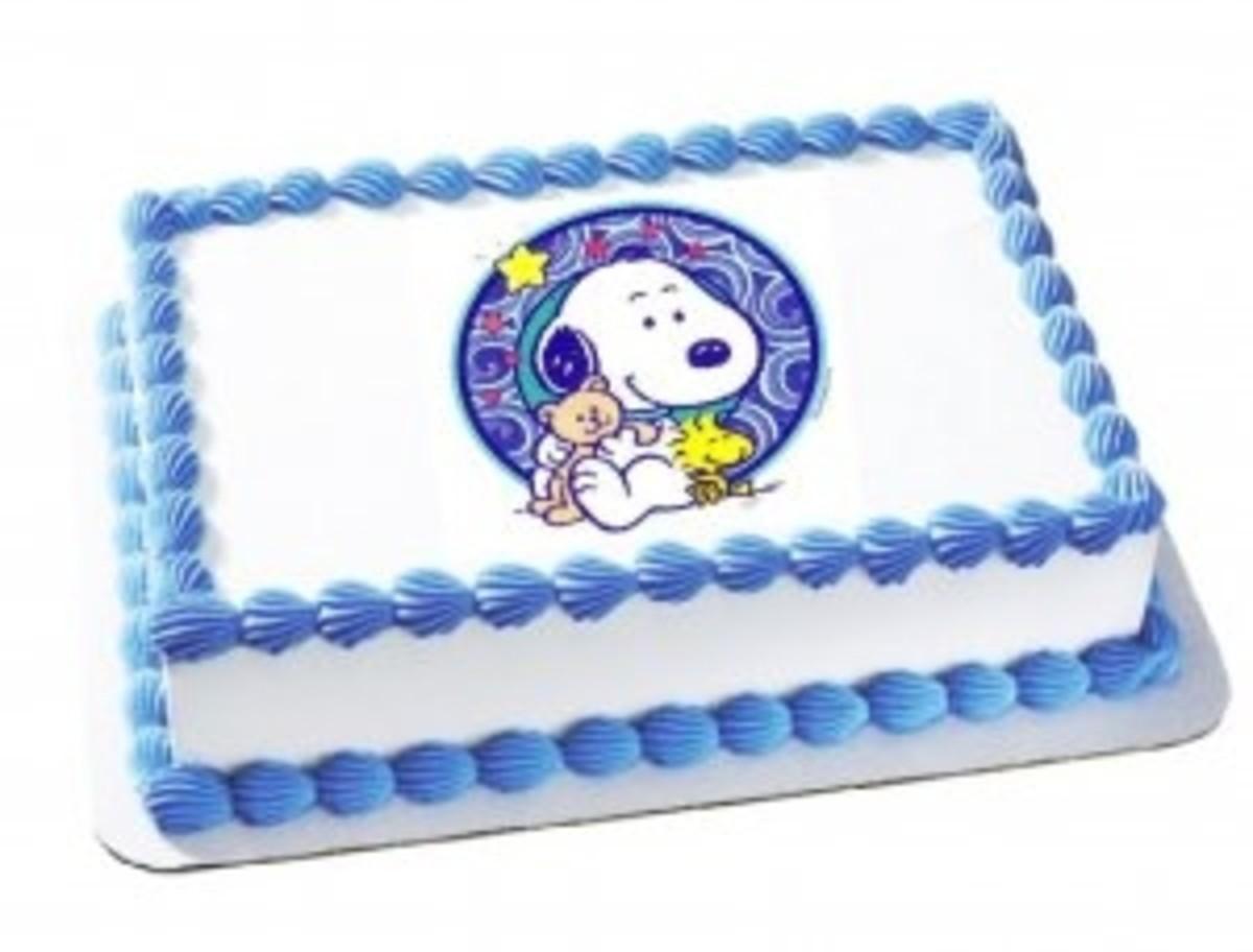 Baby Snoopy Blue & White Cake