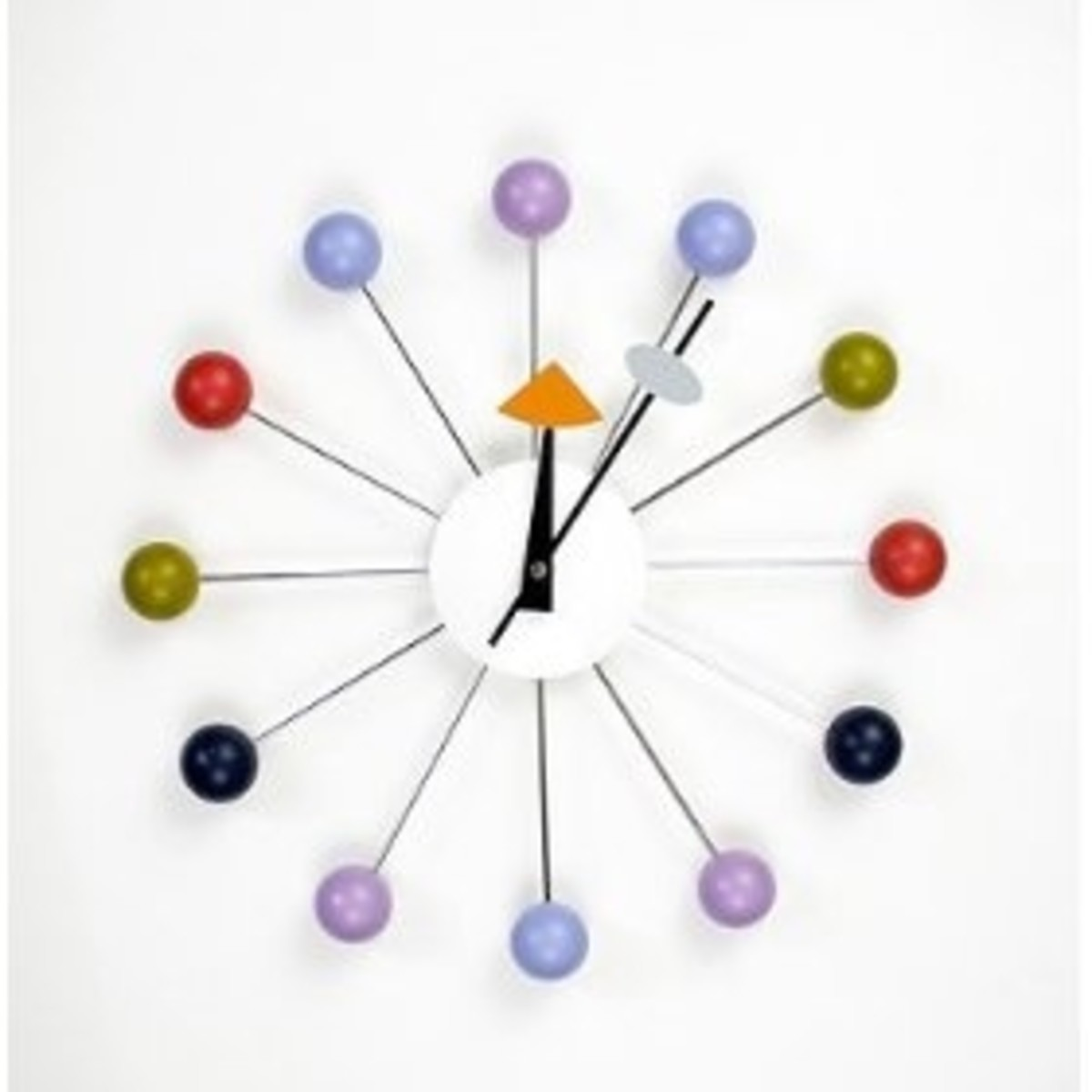 Metal Wall Clock with Wooden Balls