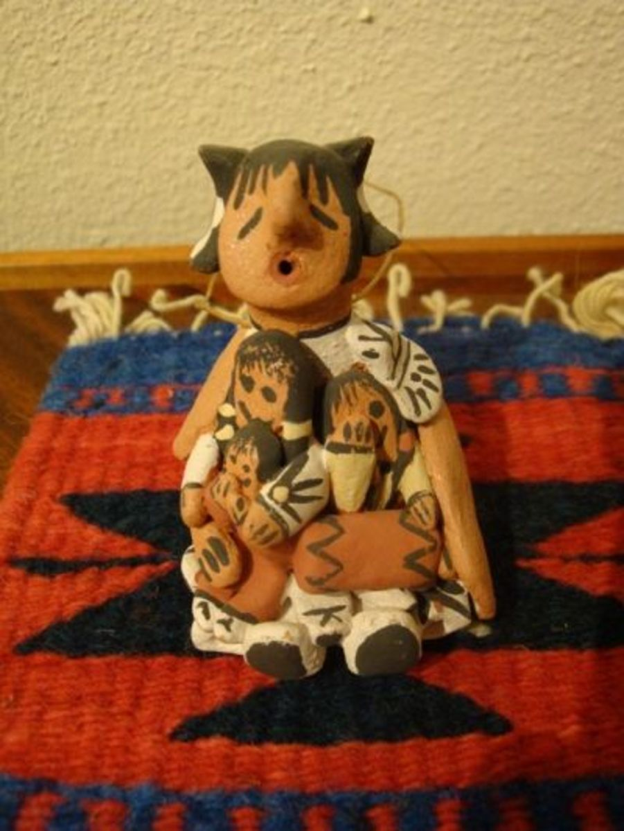 """Christmas ornament of storyteller with three little ones. """"Hush little baby don't you cry"""""""