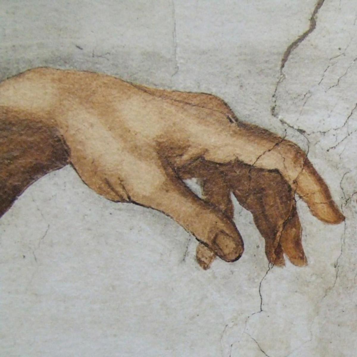 Adam's left hand - The Creation by Michelangelo, Sistine Chapel, Vatican City