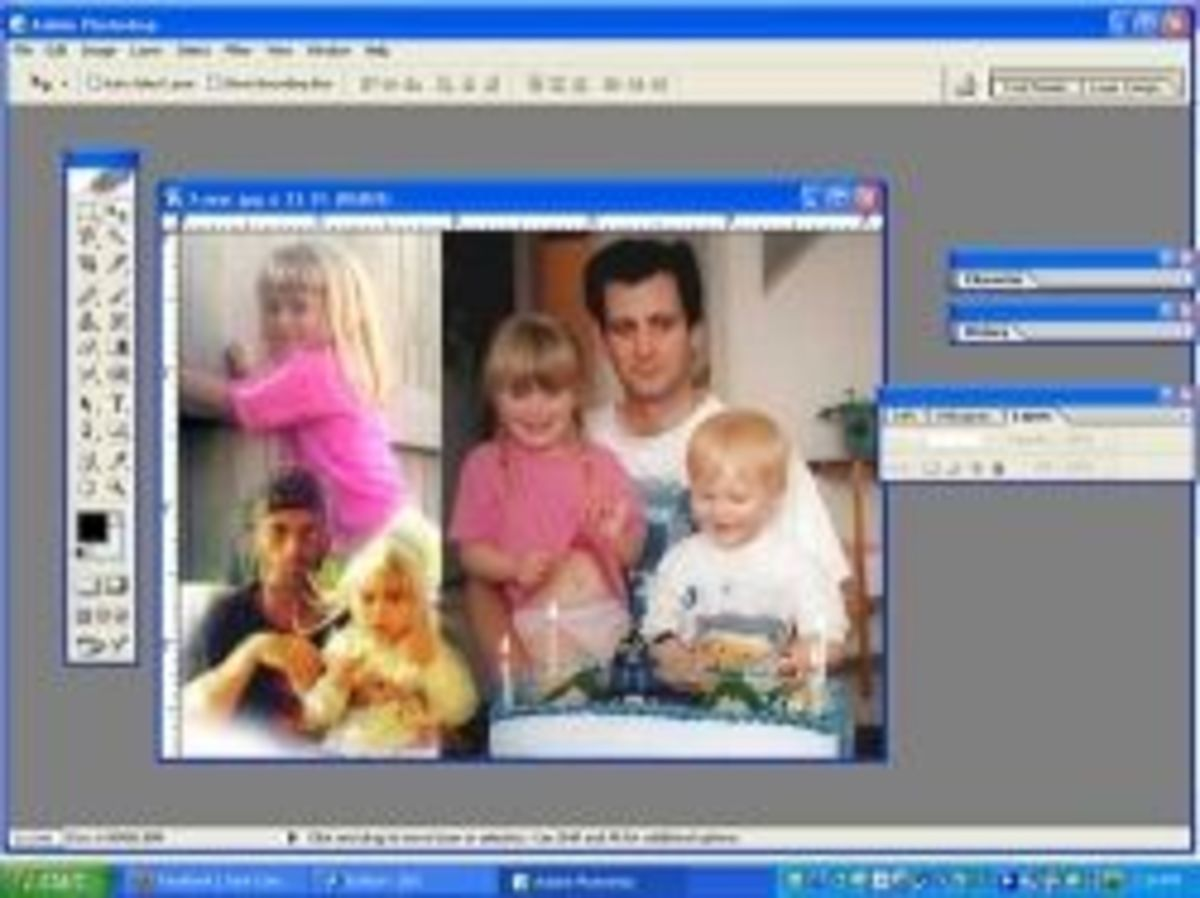 PhotoShop Interface with Collage Picture