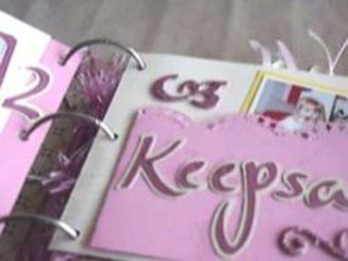 Keepsakes Folder in the Sweet 16 Book