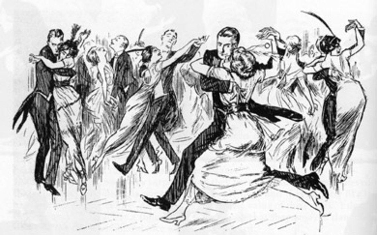 Drawing from Punch magazine humorously depicting couple dancing the tango.