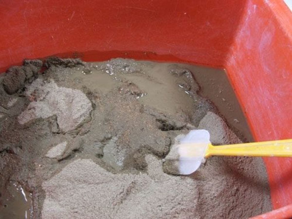 Mix your cement mortar thoroughly with just enough water to give the slurry the thickness of peanut butter.