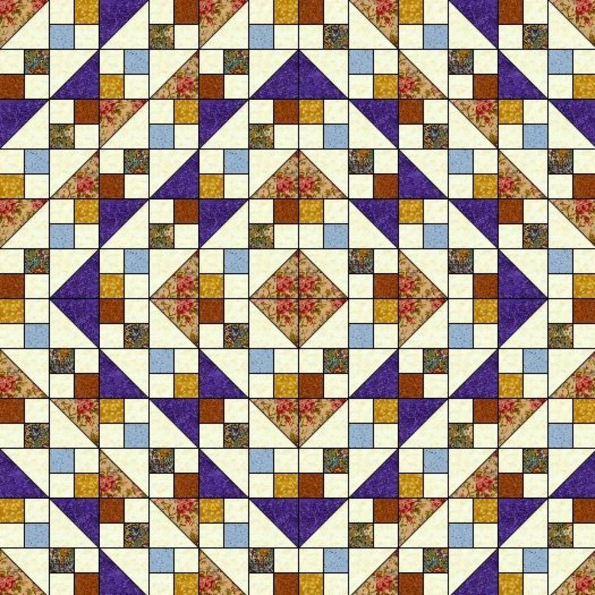 Jewel Box medallion set quilt layout