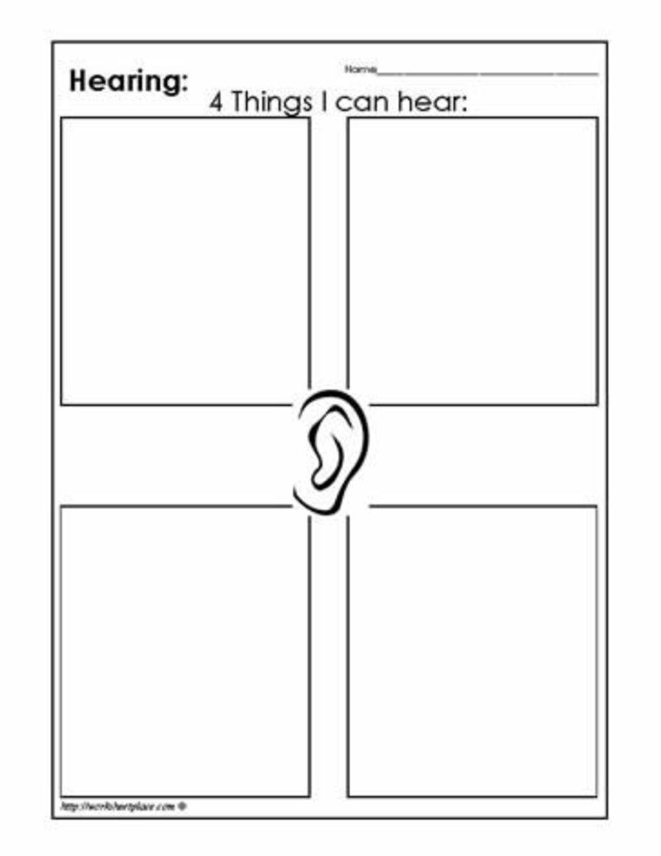 Draw pictures of things that you can hear on this worksheet.