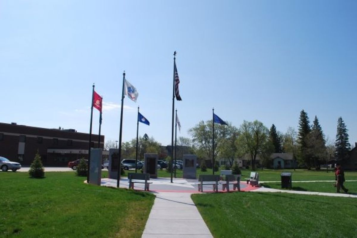 Veteran Memorial, east of the Koochiching County Courthouse.