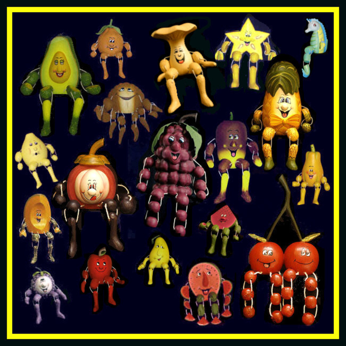Collage of Woodkins figurines, by the author