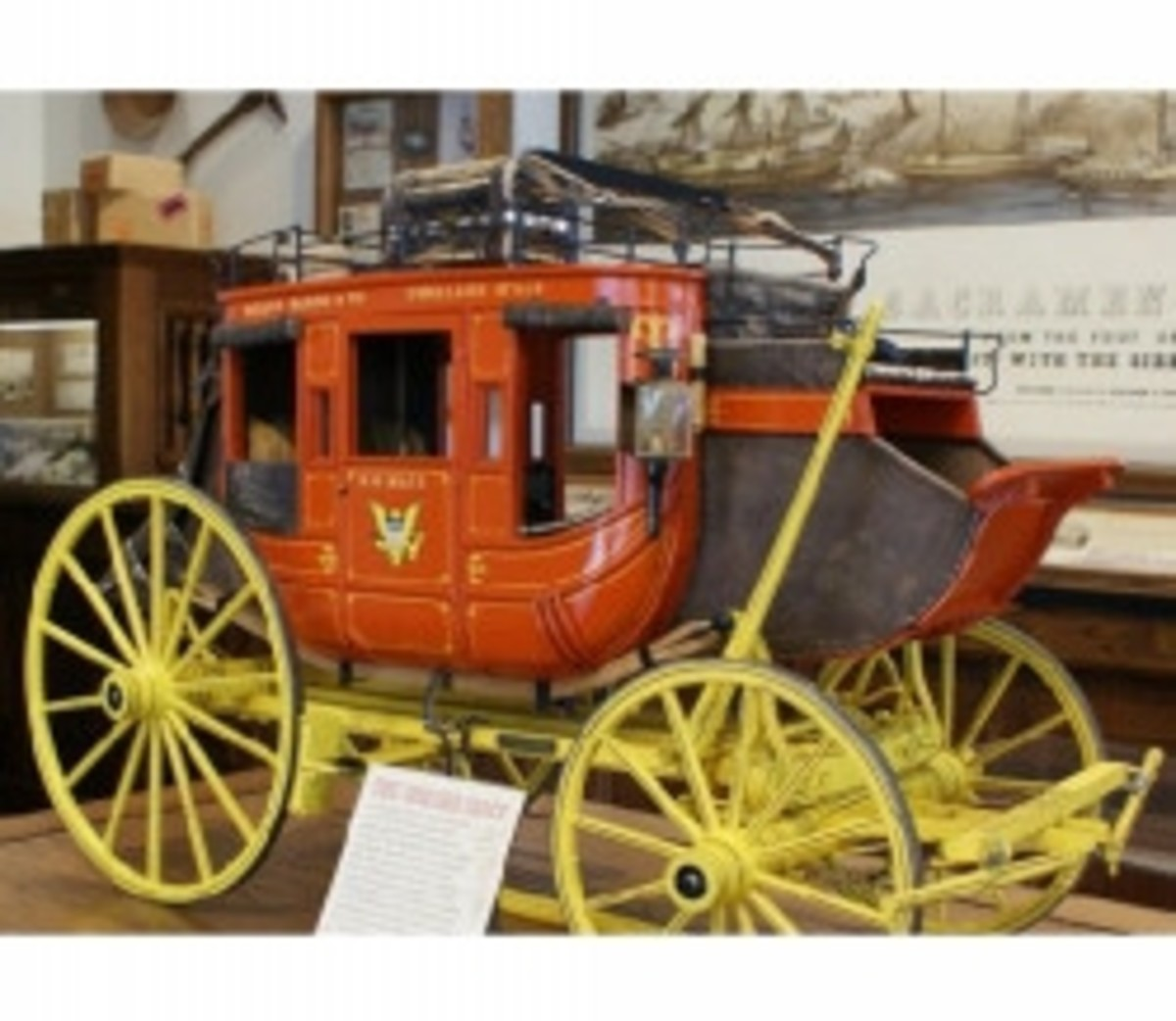 Scaled-down replica of a Concord Coach, used by Wells Fargo, in their old Sacramento, CA museum.