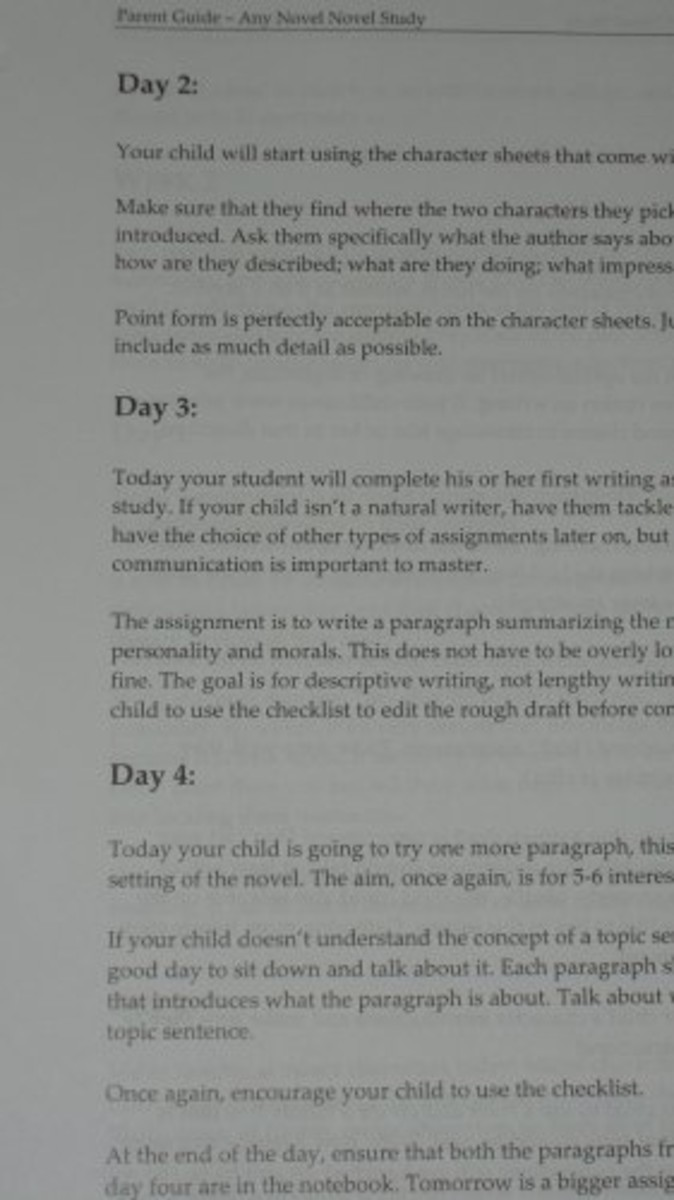 Information on what will be taught and done day by day. It is arranged by weeks.