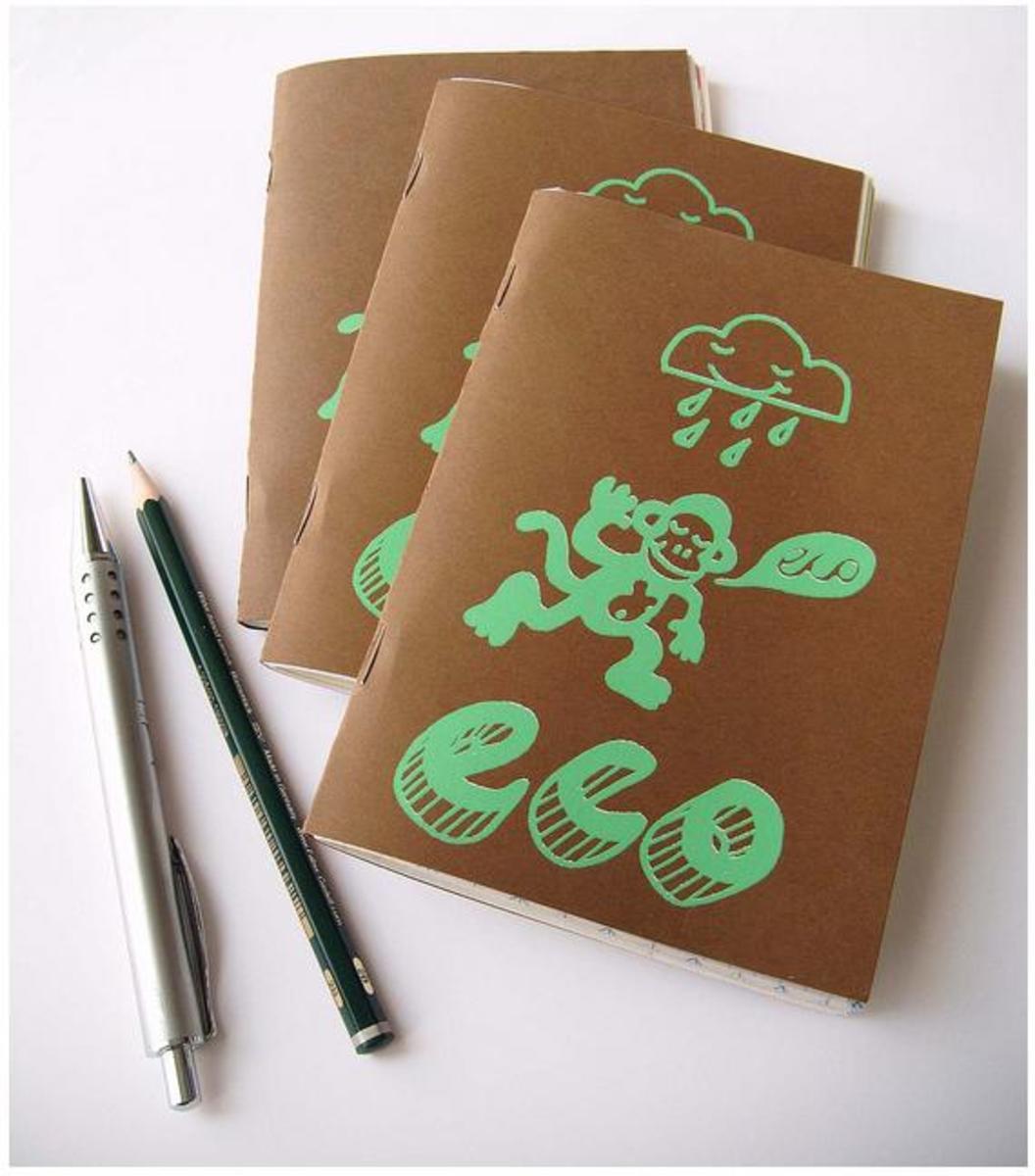 Hand silkscreen printed notebooks.