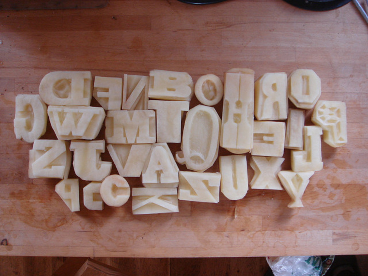 I love that these potatoes have been cut to replicate vintage wooden letter blocks - what a fab idea, and cheap!
