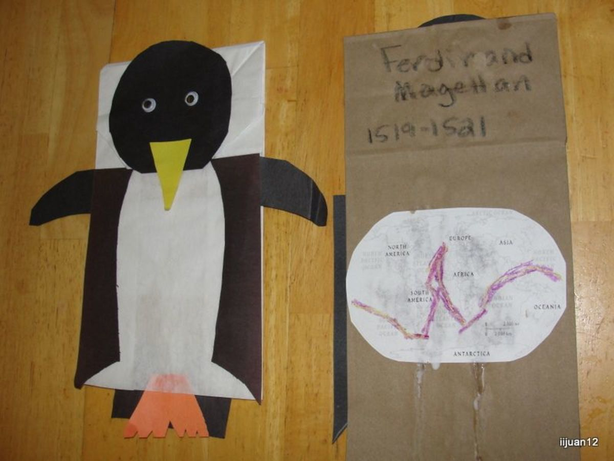 Ferdinand Magellan penguin puppet and route map
