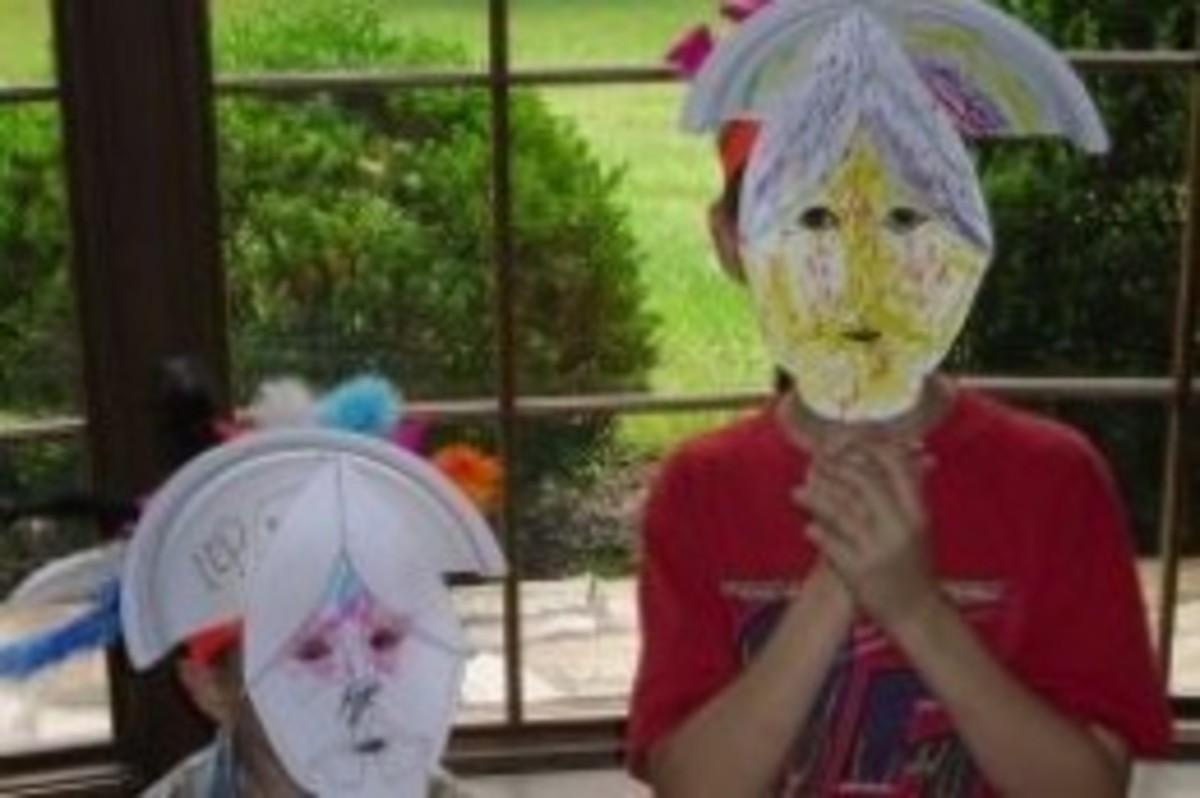 Montezuma's Crowns and Conquistador Masks from Lesson 4: Ponce de Leon, Aztecs, Cortes, & Conquistadors Lesson