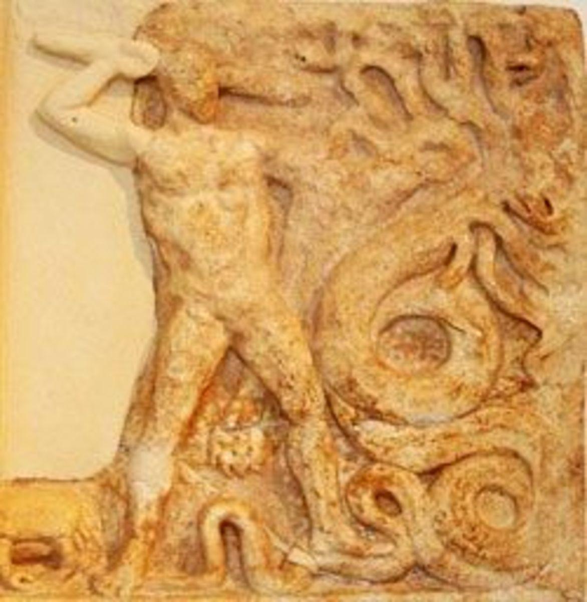 Hercules vs. Hydra, Metope, Athens National Museum, © Ellen Brundige