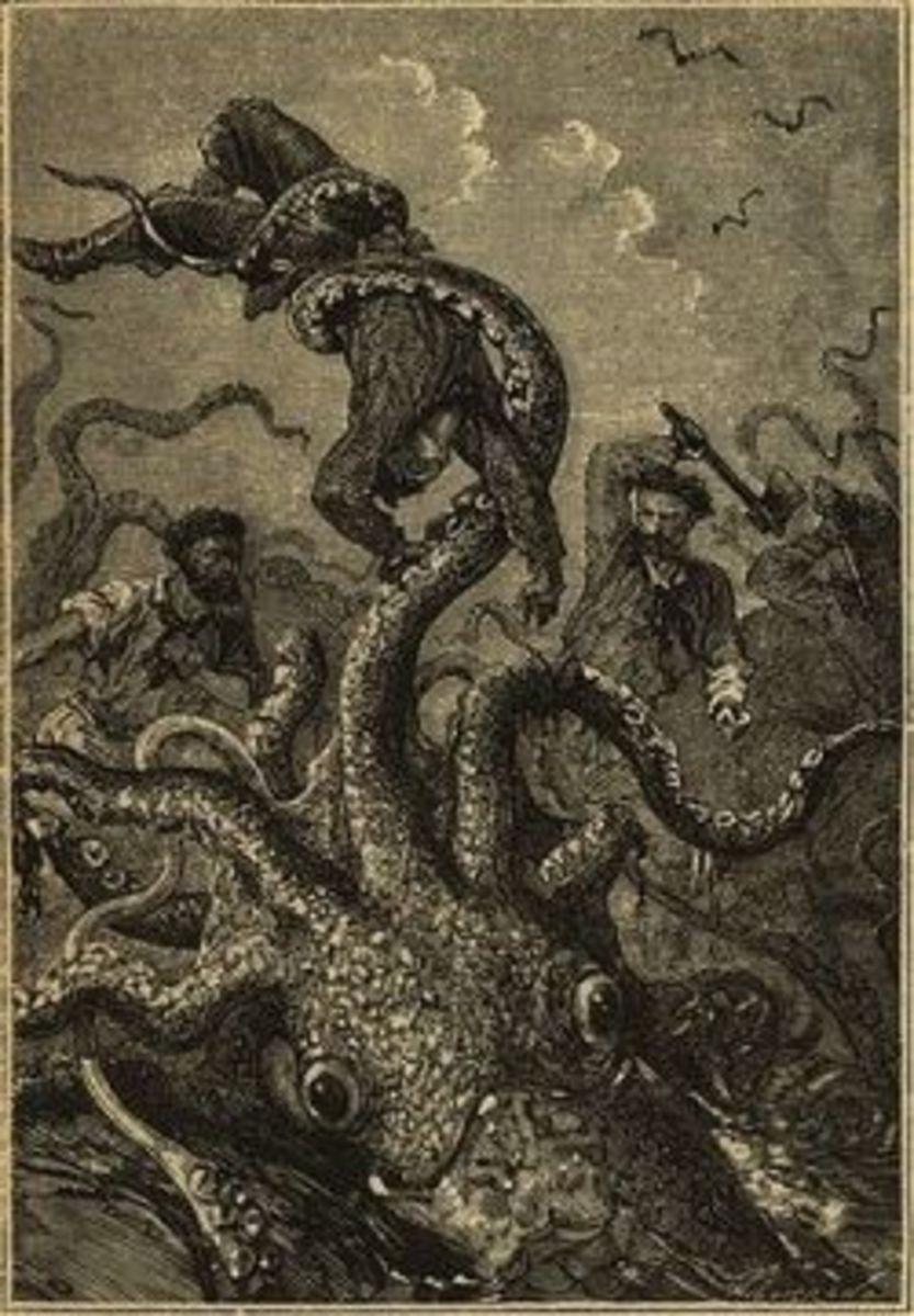 Giant Squid attacks Captain Nemo's Nautilus submarine, illustration from original edition of Jules Verne's 20,000 Leagues Under the Sea