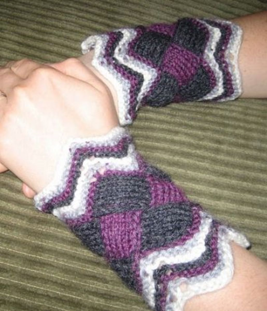 Entrelac Wristers from Norwegian Handknits (My first ever entrelac project!)