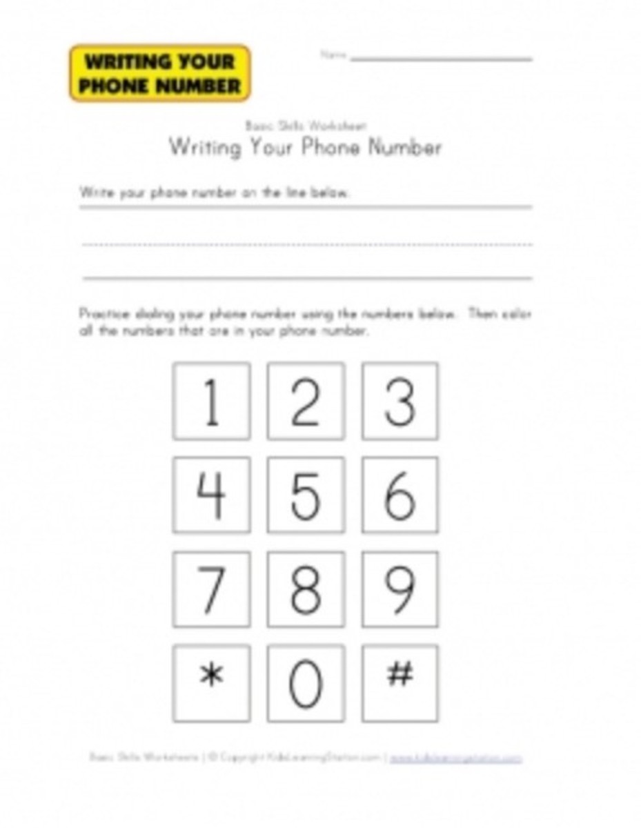 Phone Number Worksheet for Kids