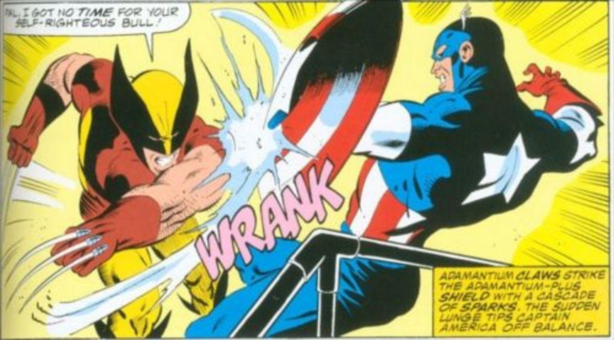 Wolverine slashes at Captain America