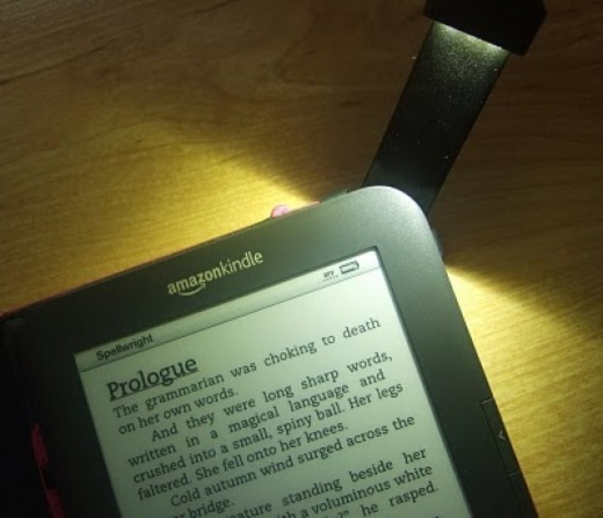 Cover light in action on the older Amazon Kindle Keyboard