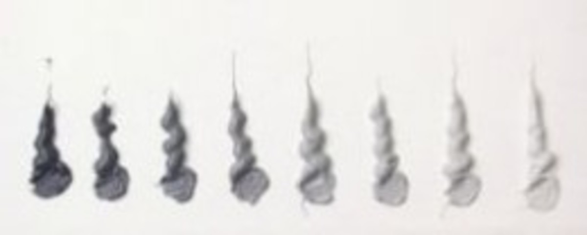 Grisaille swatches of Cennini paint.
