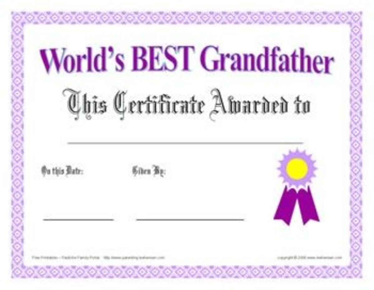 Printable Grandfather Award