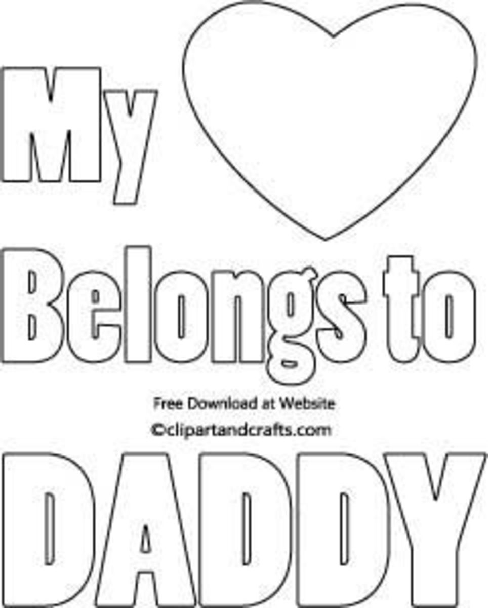 Fathers Day Coloring Page printable, Heart Daddy