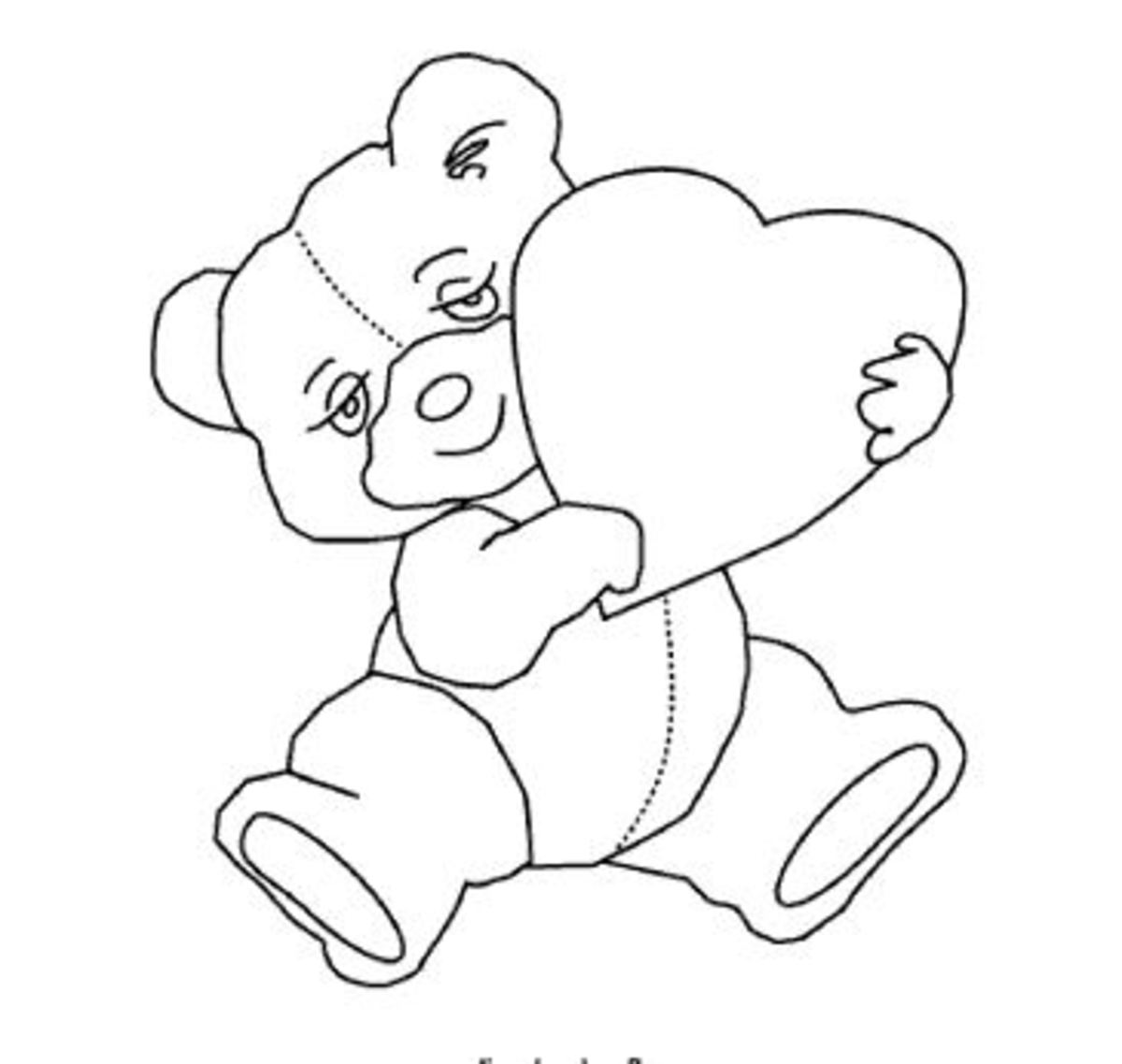 Teddy bear with heart line art, Lee Hansen