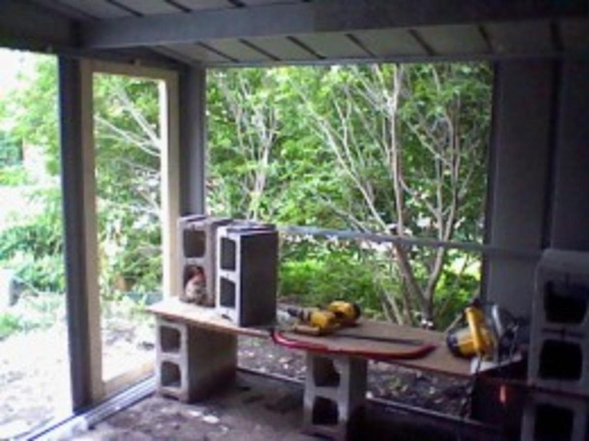 backyard chicken coop in progress