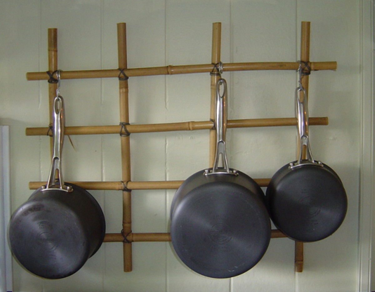 Bamboo Pot Rack Space Saver