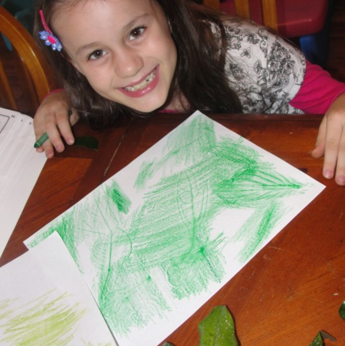 Creating deciduous forest leaf rubbings while studying biomes